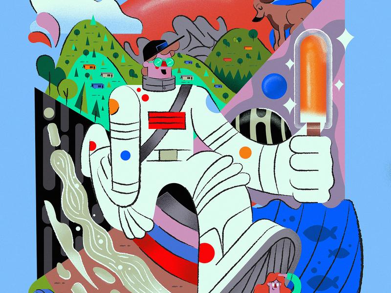 Cream Sickle space graphicdesign chracter illustration dog trailer astronaut icecream