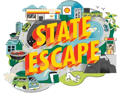StateEscape shell dog road trip typogaphy graphicdesign character illustration