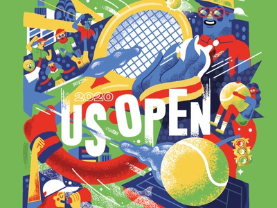 US Open Pitch illustration characters people nyc sports ball tennis