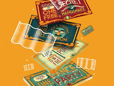 Good For One Free childrens kids joke handlettering illustration type danceparty coupon free
