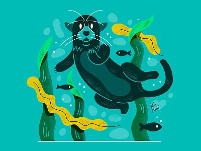 Otter nature fish leaf sea life water pond wildlife animal otter