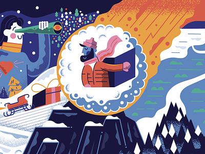 Winter WONDER Land pt. 3 graphic design wonder holidays searching mountain flame christmas winter man snowball