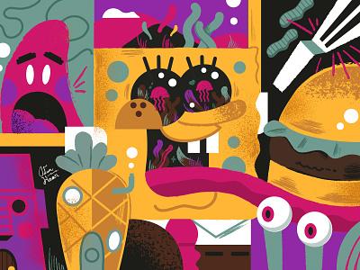 Sponge Bob stephenhillenburg pineapple illustration patric graphicdesign toon spongebob nickelodeon
