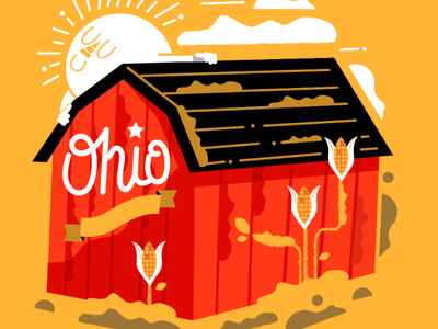 Ohio graphicdesign yellow corn state barn farm character illustration ohio