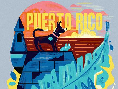 Puerto Rico tropical sun graphicdesign poster illustration nature island frog dog puerto rico