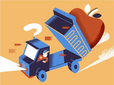 Big Apple newyork city construction illustration man vehicle truck apple