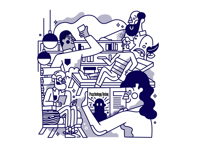 Psychology Today Editorial graphicdesign woman man bookshelf furniture room people editorial illustration today psychology
