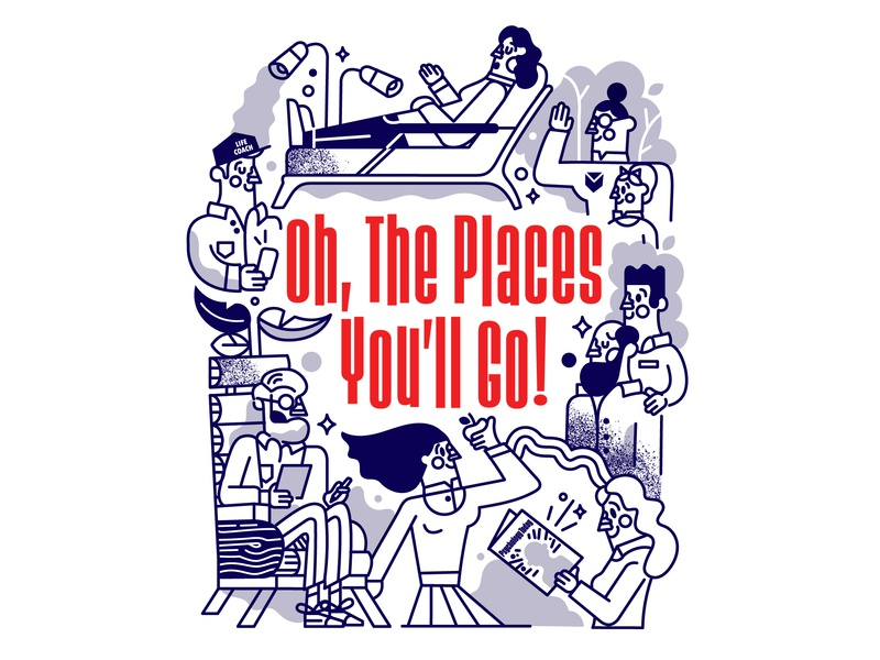 Oh, the places you'll go graphicdesign illustration linework women men characters people editorial psychology