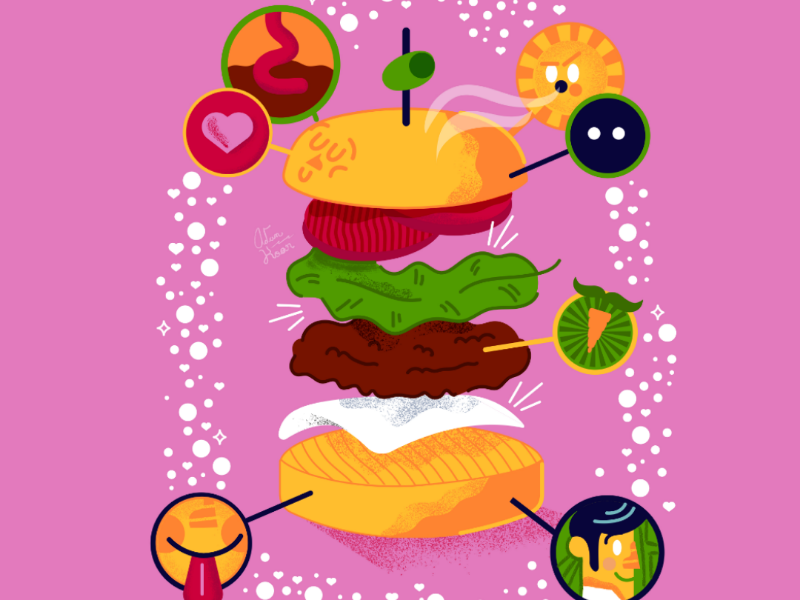 Veggie Burger swiss cheese graphic desighn illustration tomato cheese lettuce bun food fast burger veggie