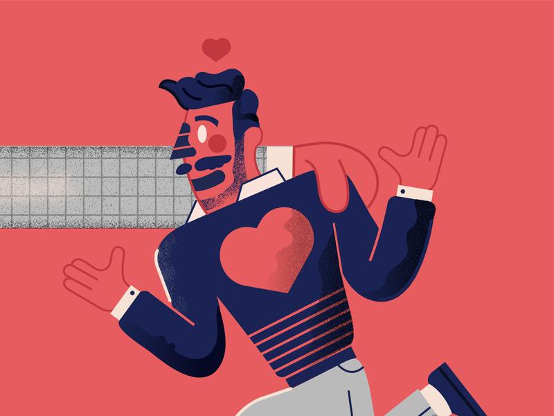 Valentines Day hug sweater illustration character heart fashion man love