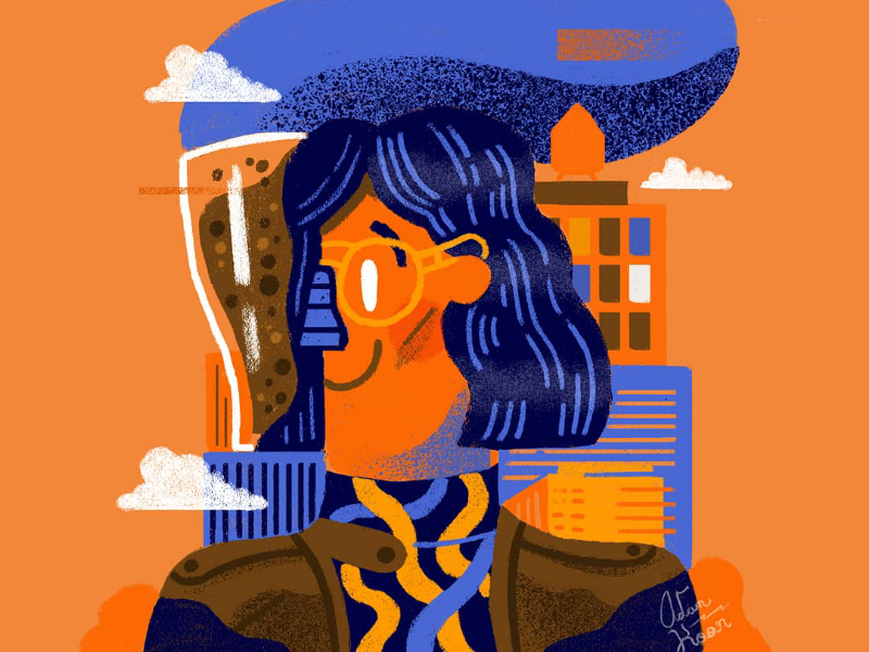 Beer graphic design illustration fashion new york character woman city beer