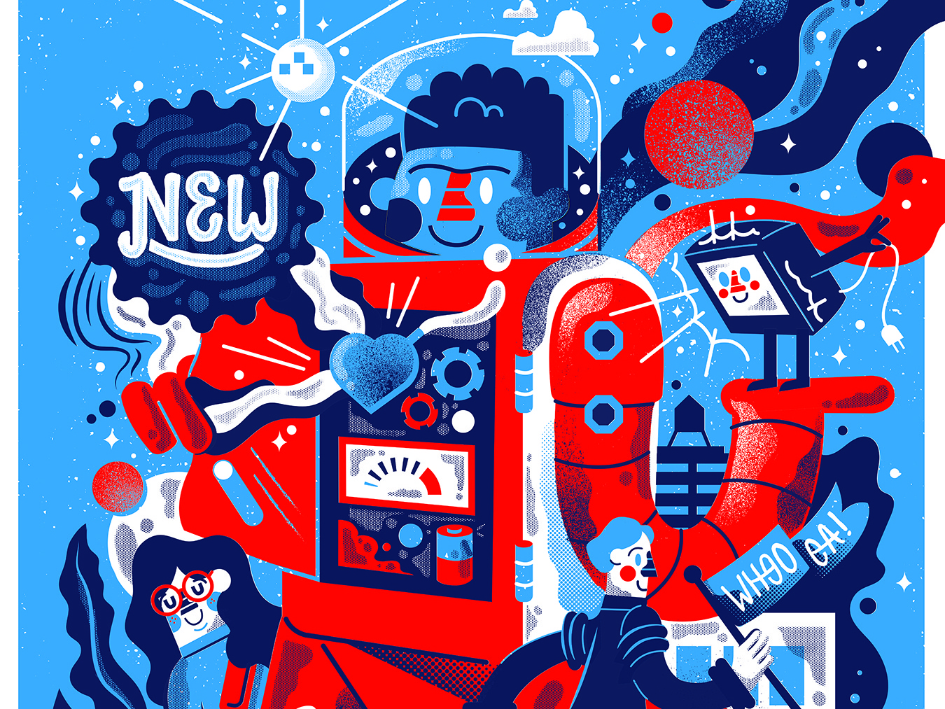 COOOOL! handlettering planets print people graphic design poster illustration space roboto astronauts astronaut