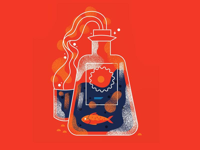 Glass packageing graphic design illustration glass bottle ocean alcahol fish