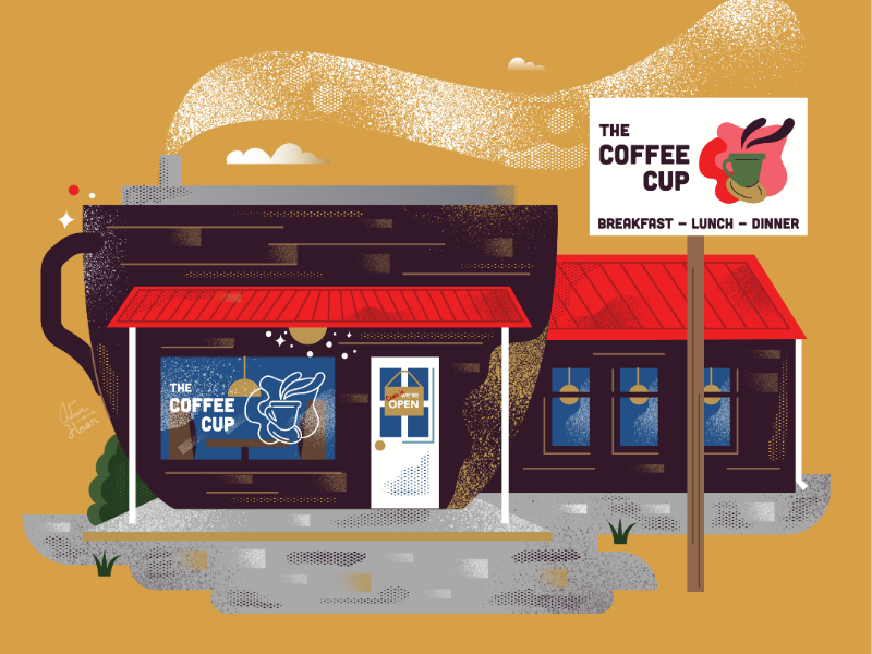 Coffee Cup. Nelsonville, Ohio cup coffee diner building town graphic design illustration