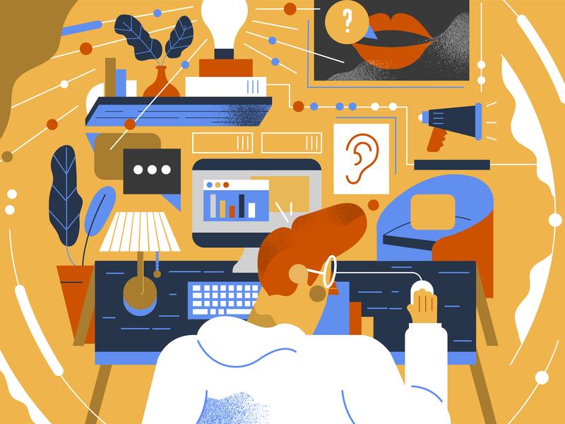 Timescale Illustration lightbulb ideas computer man character office desk