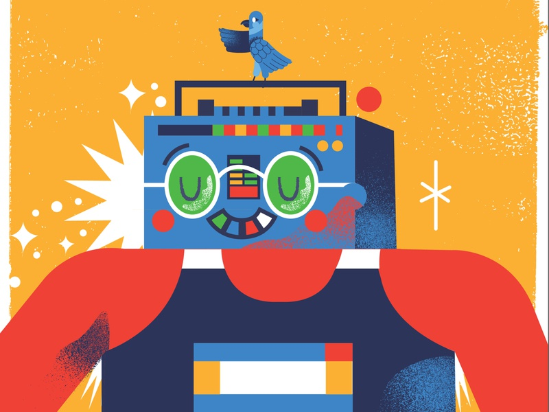 Runner graphicdesign illustration box boom bird runner man music