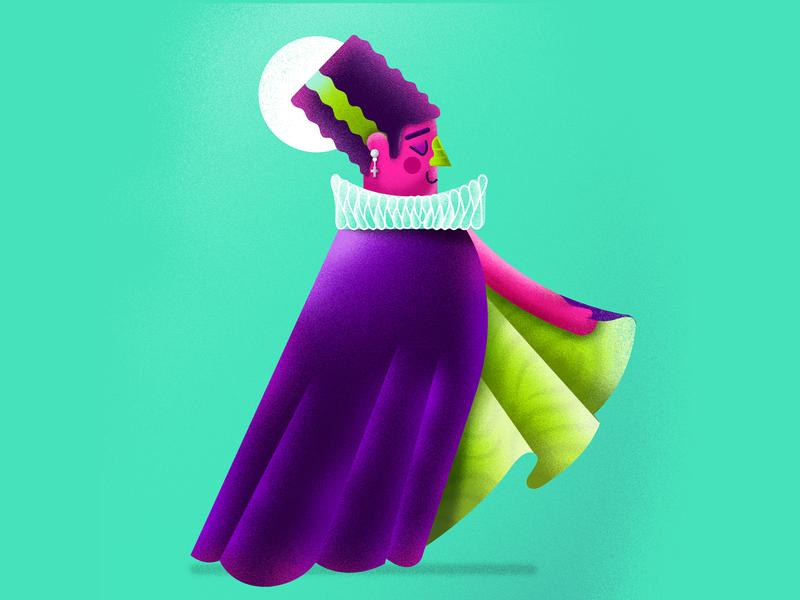 OOOOKY SPOOOKY KOOKY wife costume woman illustration moster halloween scary frankenstein