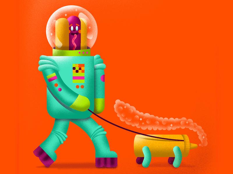 Astro Dog graphicdesign mustard dog astronaut hot dog illustration