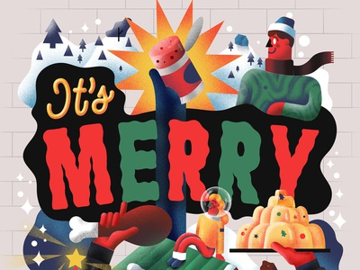 It's Merry winter christmas people hand lettering type character graphicdesign illustration