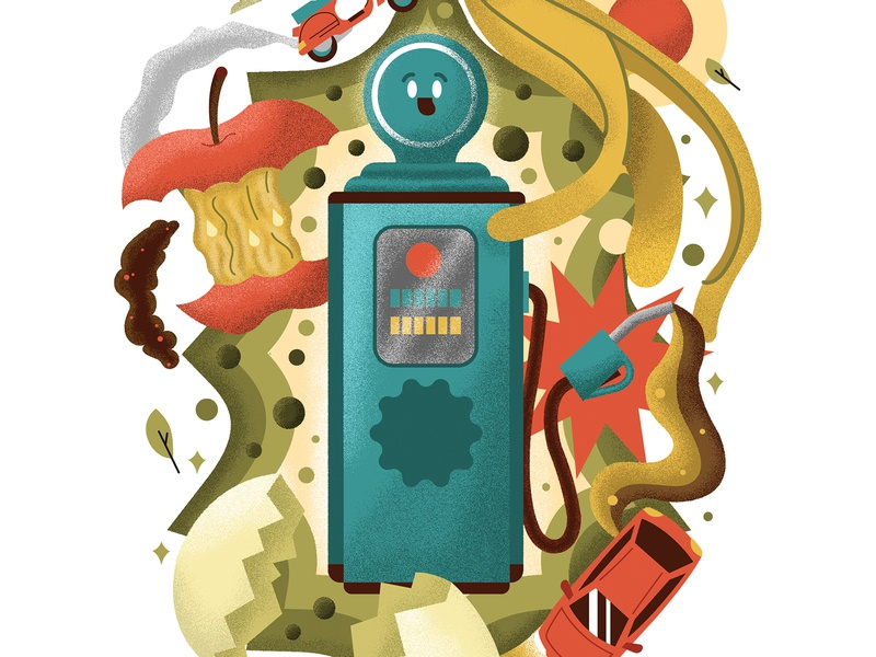WPI Jornal bannana car green enviroment compost gas editorial design graphicdesign illustration
