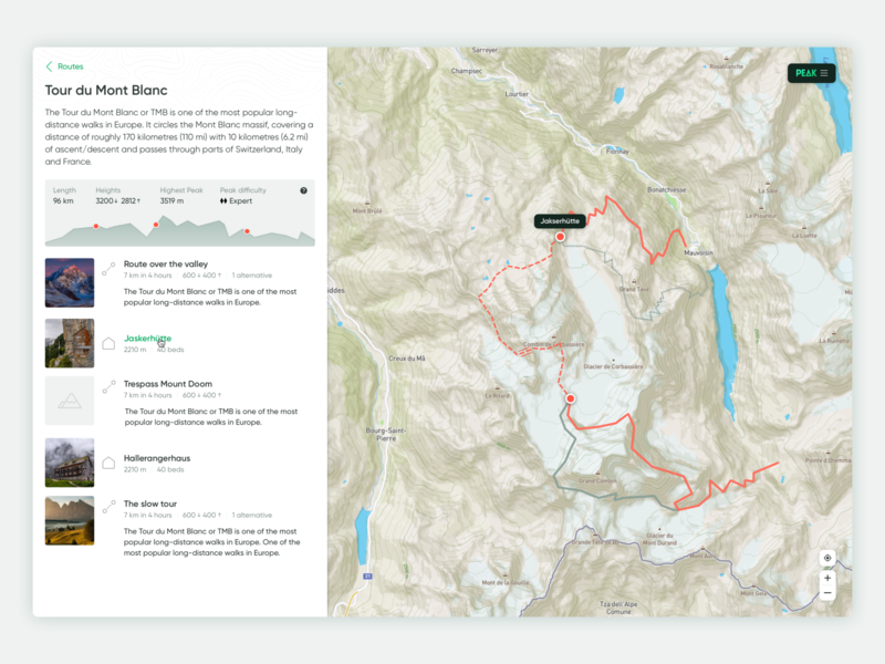 Peak interface web application hiking mountains web app ui design