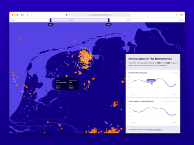 Earthquakes earthquake map data graphic application design years slider web interface ui