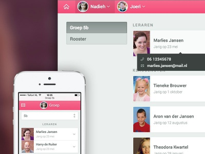 ParnasSys for parents ui web application responsive list navigation