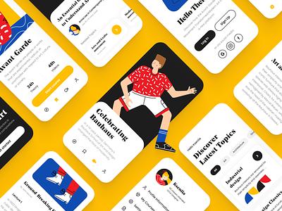 Bauhaus Mobile App user interface mobile app ui ux mobile app design bauhaus 100 mobile layout concept education app illustration design app mobile ui ux design ui design bauhaus