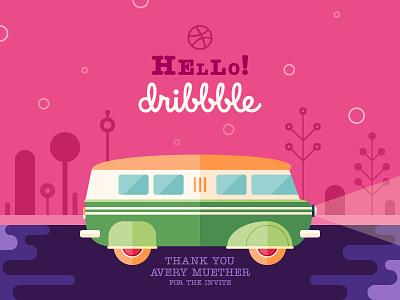 Hello Dribbble! Hello everyone! retro art icon van minivan flat design hello debut shot invite dribbble illustration debut