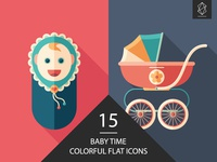 Baby time flat square icon set
