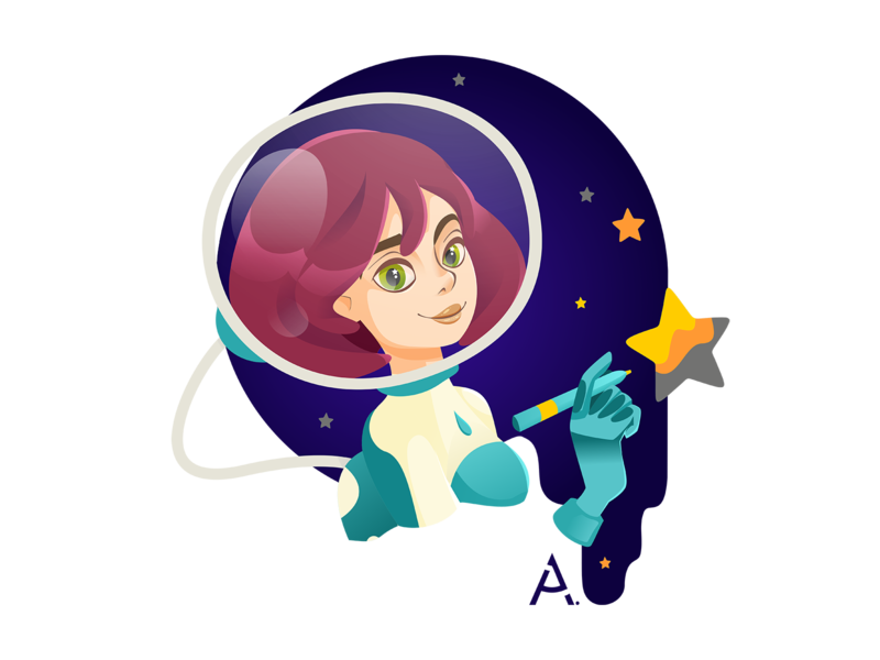 The first space portrait star space graphic vector flat digital design cgart art illustration