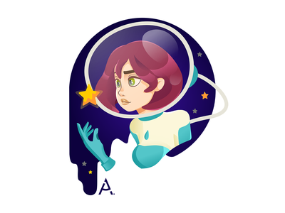 The second space portrait cg star space vector flat digital design cgart art illustration