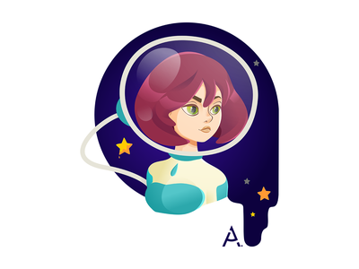 The last space portrait cg graphic space star vector flat cgart design art illustration