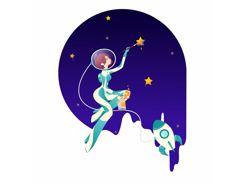 you're just space: draw the stars space art web digital cgart design flat vector illustration