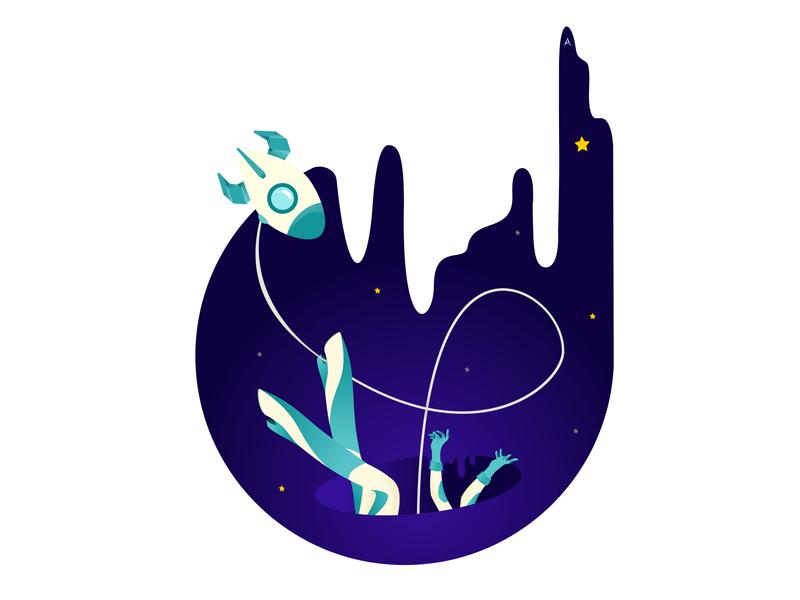 you're just space: oops... space website digital cgart art design app web vector illustration flat
