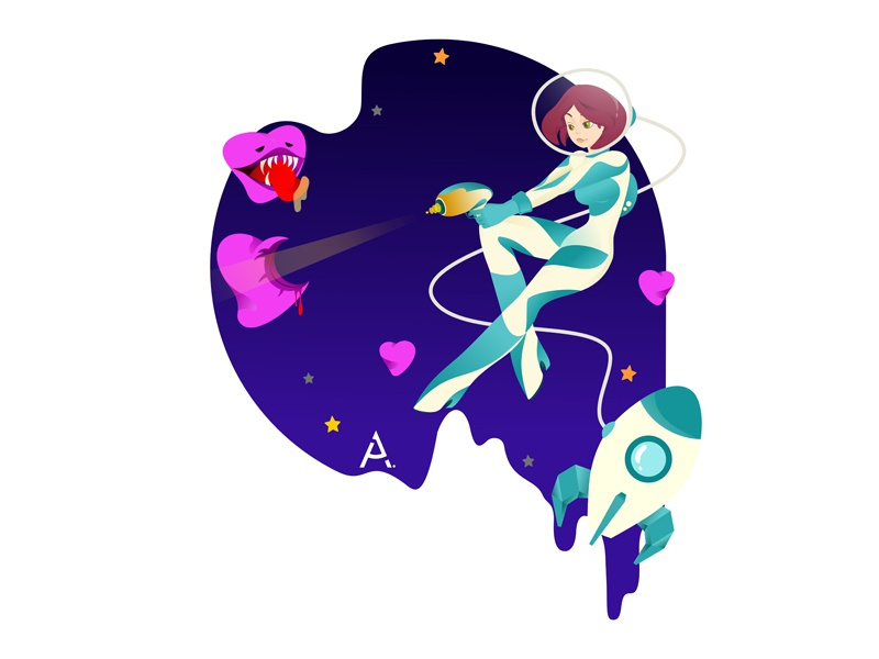 you're just space: Houston, we have a problem! website space art cgart design app web vector illustration flat