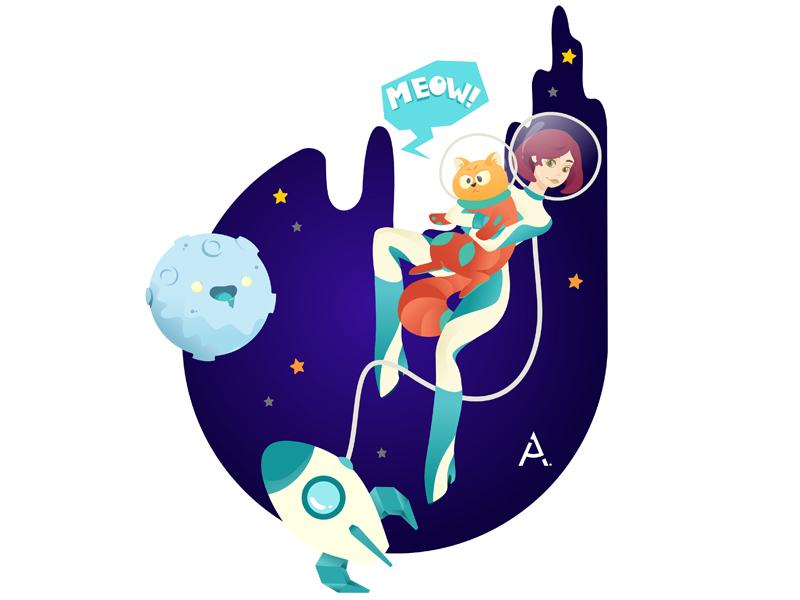 you're just space: Defenders of cookies! space digital cgart art design app web vector illustration flat