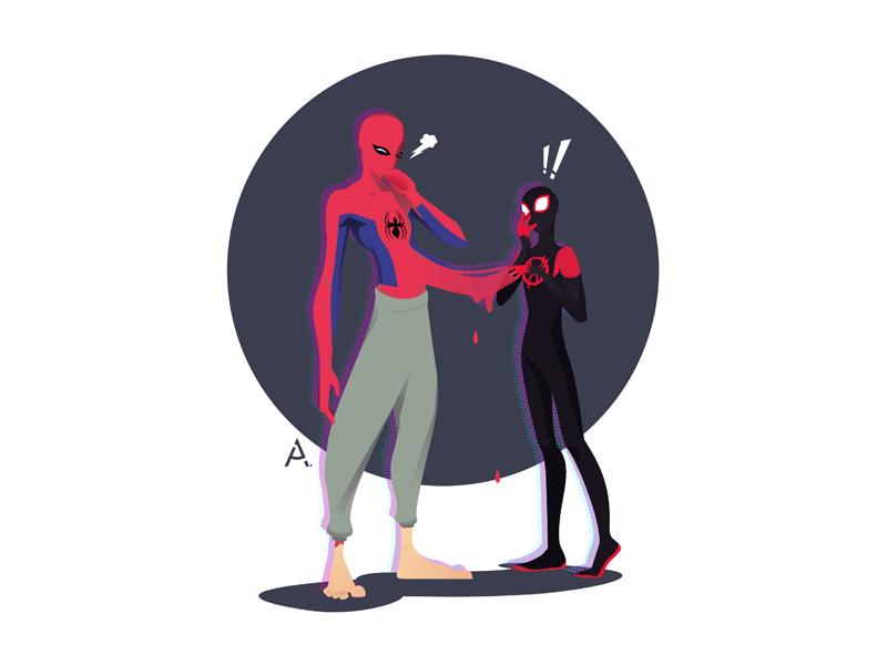 Spider-Man: Into the Spider-Verse - reply! spider man marvel marvel comics digital cgart art design app web vector illustration flat