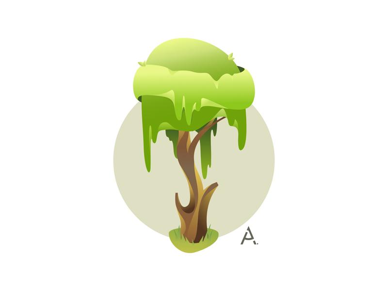 Fantasy tree 1 graphic digital cgart art design app web vector illustration flat