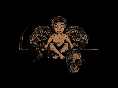 Cherub vintage poster art design skull raster dark art art procreate illustration art illustration