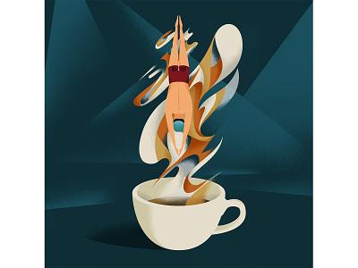 BREAK dive coffeelover coffee illustree editorial illustration photoshop illustrator illustration flat dribbblers dribbble design