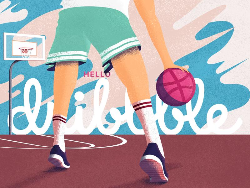 Hello Dribbble! dribbblers basketball shots shadows grainy photoshop illustrator dribbble design flat web vector illustration