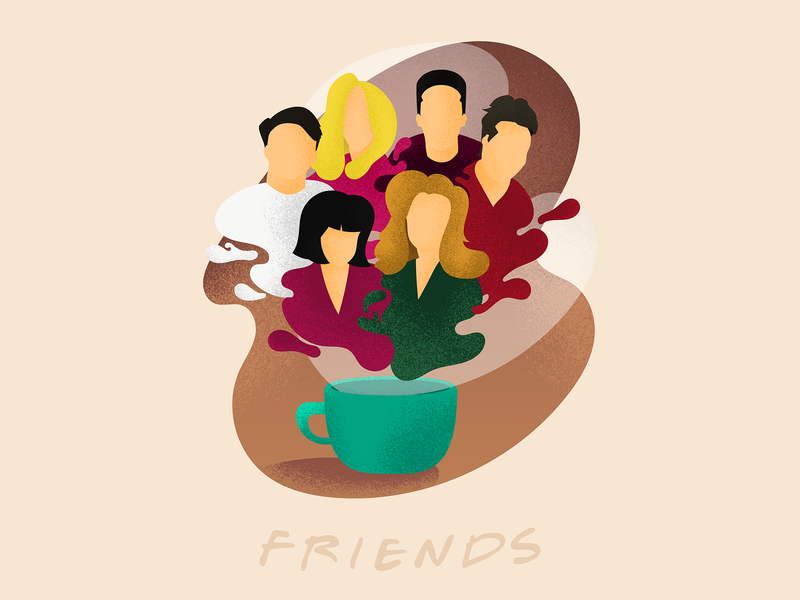Friends netflix friends friendship illustrations adobe vector shots shadows photoshop illustrator illustration grainy flat dribbblers dribbble design