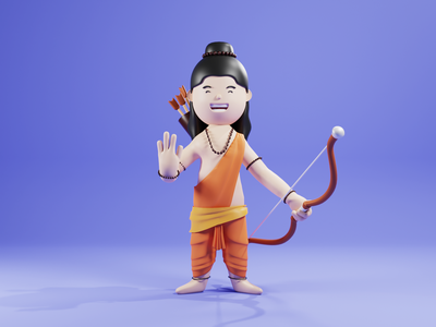 Sri Ram - 3d character for Dussehra india festival character design 3d illustration gods webdesign 3d art lowpoly 3d character design 3dillustration cinema4d blender3d 3d character webillustration 3d illustration