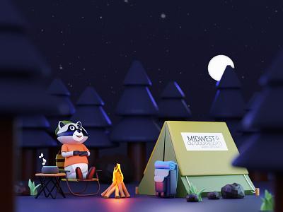 Forest Camping - Midwest Outdoor Resorts 3d modeling trending animation 3d animation c4d 3d art 3d character design webdesign cinema4d blender3d 3d character 3dillustration webillustration illustration
