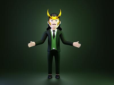 Loki- God of Mischief 3d art ui design 3d animation animation 3d icon 3d illustration uidesign 3d ui design cinema4d 3d character 3dillustration blender3d webillustration 3d character design illustration