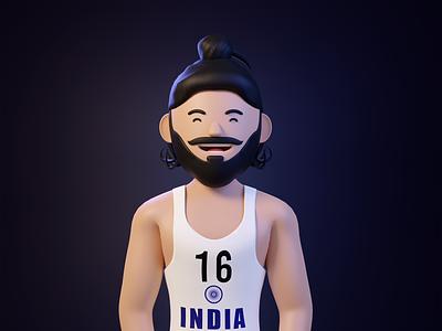 The Flying Sikh - Milkha Singh JI trending 3d icons motion graphics 3d illustration 3d art design 3d character design cinema4d 3d character blender3d 3dillustration webillustration illustration graphic design 3d animation