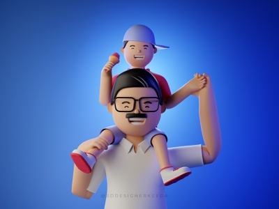 Father's Day 3d illustration 3d design fathersday branding motion graphics graphic design 3d animation cinema4d 3d character design 3d character blender3d 3dillustration webillustration illustration