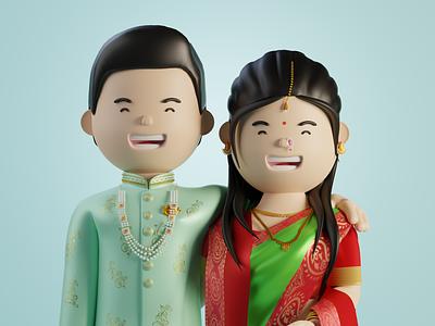 Marathi Couple 3d Illustration print design invitation wedding illustration 3d icon design graphic design uiux ui 3d character design cinema4d blender3d 3d character 3dillustration webillustration illustration