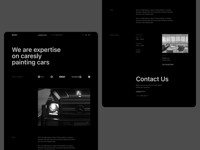 Landing Page black construction composition grid layout paint cars typography